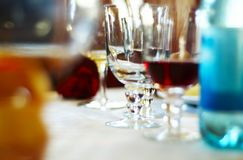 Unfinished Dinner Drinks Royalty Free Stock Images