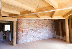 Unfinished eco house Stock Photos
