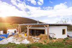 Unfinished eco house Stock Images