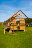 Unfinished, ecological wooden house Royalty Free Stock Images