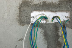 Unfinished electric cable socket Stock Photos
