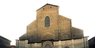 Unfinished facade of San Petronio basilica in Bologna with white Royalty Free Stock Photos