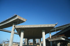Unfinished Freeway. Multi-level freeway under construction, End of the road Royalty Free Stock Photos