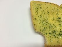 Unfinished Garlic bread. On white background Stock Image