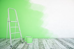 Unfinished green room. Room interior with unfinished green wall, paint buckets, ladder and wooden floor. Mock up, 3D Rendering Royalty Free Stock Photo