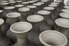 Unfinished handmade pot made of clay Royalty Free Stock Image