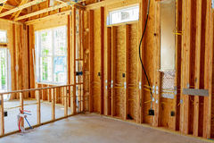 Unfinished Home Framing Interior Stock Image