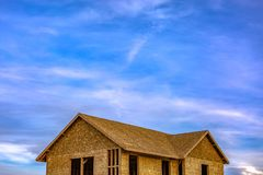An unfinished home with peaceful sky background royalty free stock images