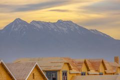 Unfinished homes and Mount Timpanogos in Utah stock photo