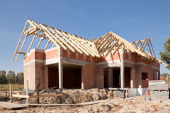 Unfinished house of brick Royalty Free Stock Images