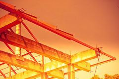 Unfinished house of brick, still under construction,abstract,Hot hues Royalty Free Stock Photo