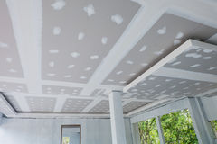 Unfinished house ceiling. In the construction site royalty free stock photos