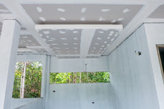 Unfinished house ceiling Stock Photo