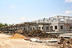 Building Construction Site. Unfinished house on construction site Stock Photography