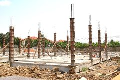 Building Construction Site. Unfinished house on construction site Stock Image