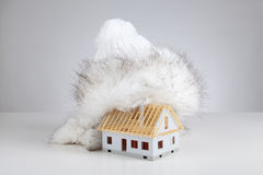 Unfinished house insulation royalty free stock photography