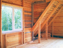 Unfinished house interior. Unfinished wooden house, second floor Stock Images