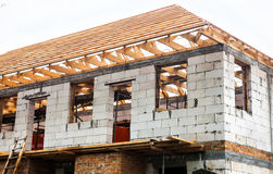 Unfinished house with timber roof truss Stock Photography