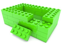 Unfinished house of toy bricks Royalty Free Stock Image