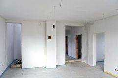 Unfinished interior. Interior of a new house under construction Royalty Free Stock Photo