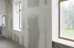Unfinished interior of apartment  under construction Royalty Free Stock Photos
