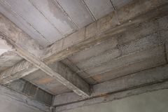 Unfinished interior of house under construction at building site royalty free stock photography