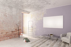 Unfinished interior with poster Stock Photography