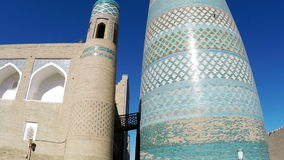 Unfinished Kalta Minor Minaret minaret Muhammad Amin Khan Khiva, Uzbekistan stock footage