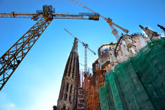 Unfinished La sagrada familia, Barcelona, Spain. The impressive cathedral designed by Gaudi, which is being build since 19 March 1882 and is not finished yet Royalty Free Stock Photos