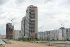 Unfinished  building. Unfinished multistory building in cloudy day Stock Images