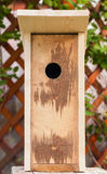Unfinished new homemade birdhouse made of wood Stock Images