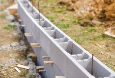 Unfinished outdoor wall. Being built at construction site royalty free stock images