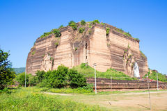 Unfinished pagoda in Mingun paya Temple at the Irrawaddy River i Stock Images