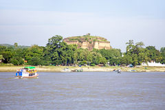 Unfinished pagoda in Mingun paya Temple at the Irrawaddy River i Stock Photography