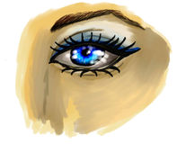 Unfinished painted eye Royalty Free Stock Photo