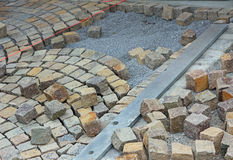 Unfinished pavement work Royalty Free Stock Photography