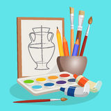 Unfinished picture of vase, little bowl with brushes, colourful pencils Stock Photos