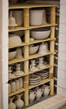 Unfinished porcelain. Unfinished pottery products. Image shows baking process in a Delftware production house Stock Photography