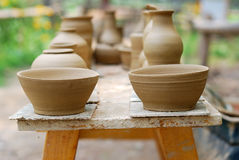 Unfinished pottery products. Royalty Free Stock Image