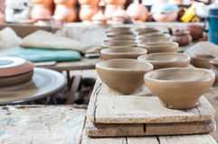 Unfinished pottery. Waiting designs on pottery royalty free stock photography