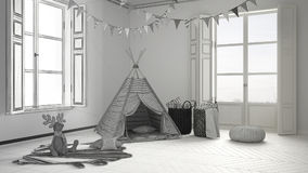 Unfinished project of child room with furniture, carpet and tent Stock Images