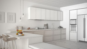 Unfinished project of classic kitchen with wooden details and pa Royalty Free Stock Photo