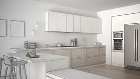 Unfinished project of classic kitchen with wooden details and pa Stock Photos