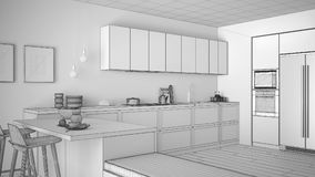 Unfinished project of classic kitchen with wooden details and pa Stock Image