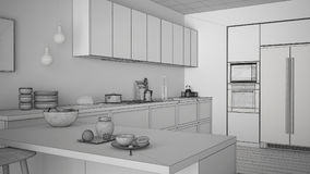 Unfinished project of classic kitchen with wooden details and pa Stock Images