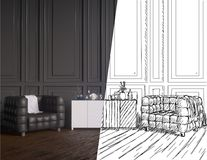 Unfinished project of country style coworking office interior. 3D Rendering illustrator. royalty free illustration