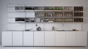 Unfinished project draft of minimalistic kitchen, modern architecture interior design. Unfinished project draft of minimalistic kitchen, modern architecture vector illustration