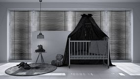 Unfinished project draft, scandinavian nursery with canopy cradle, carpet, bedside table pendant lamp and toys, big window with ve. Netian blinds, contemporary vector illustration