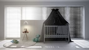 Unfinished project draft, scandinavian nursery with canopy cradle, carpet, bedside table pendant lamp and toys, big window with ve. Netian blinds, contemporary stock illustration