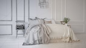 Unfinished project draft of vintage classic bedroom with soft bed full of pillows and blankets, white molded wall, wooden side cha. Irs, elegant interior design royalty free stock photos